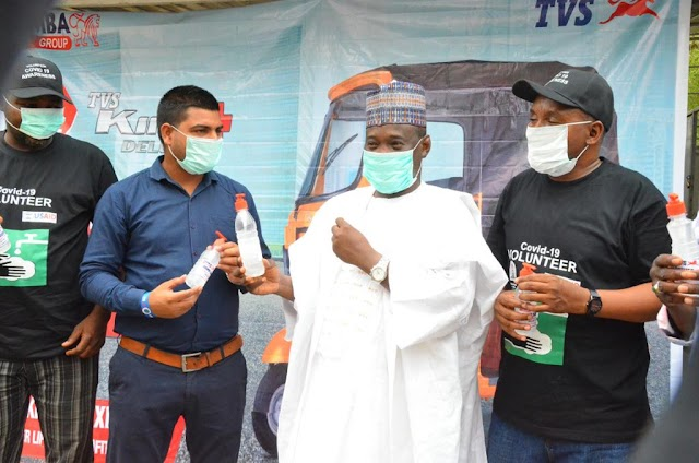 Simba TVS distributes 'safety and hygiene packs' to Keke riders
