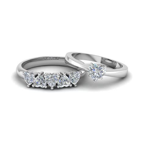 Heart Shaped Diamond Solitaire Ring With Matching 5 Stone