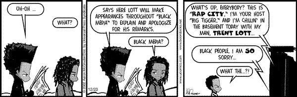 Boondocks on Trent Lott and black media | Tacky Harper's Cryptic Clues
