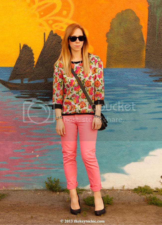 Zara quilted floral top, Cheap Monday pink skinny jeans, Mossimo glitter pumps, L.A. fashion blog