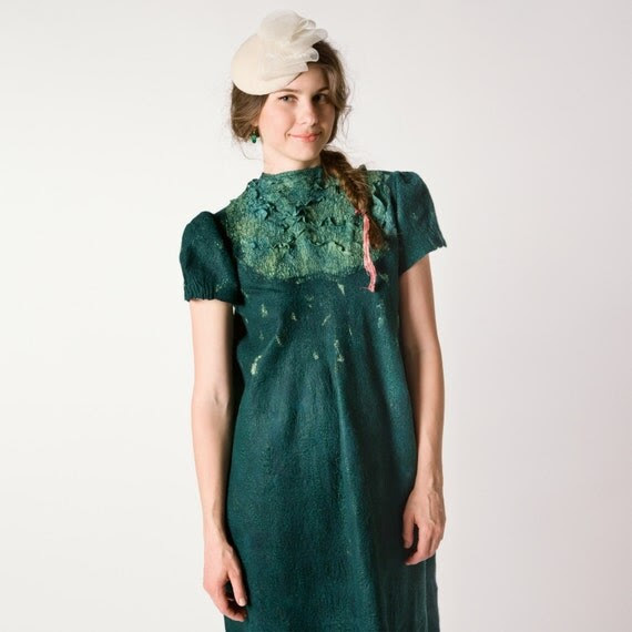 Dark green emerald felted dress, nunofelting, long dress, fashion dress, wedding idea, size S-M, OOAK