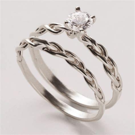 Braided Wedding Ring Set   14K White Gold and Diamond ring
