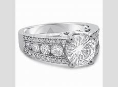 8mm Round Cut Charles & Colvard Created Moissanite & Diamonds Antique Style Engagement Ring KR112M