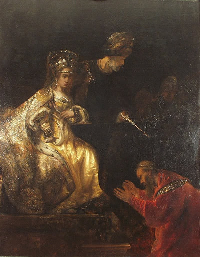 """Haman Begging the Mercy of Esther,"" by Rembrandt. Credit: Wikimedia Commons."