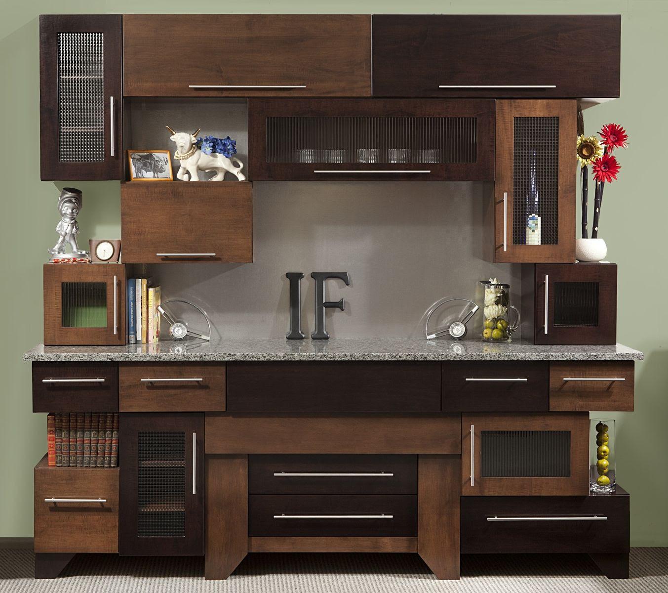 Cubist Cabinets Kitchen Modern Clean In Tiger Maple & Glass - Expresso
