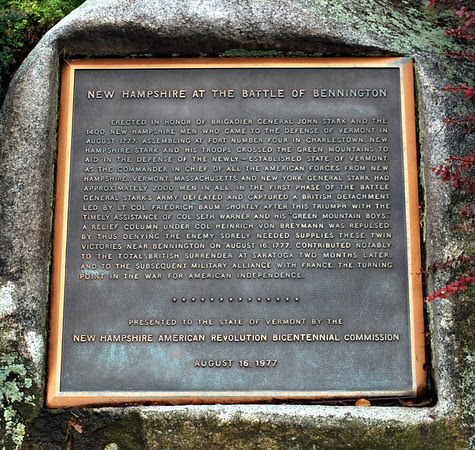 Plaque for New Hampshire at the Battle of Bennington