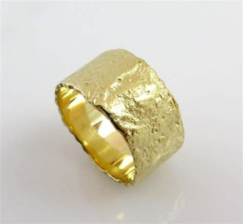 Unique Wedding Band, 14K Yellow Gold Ring, Textured Gold