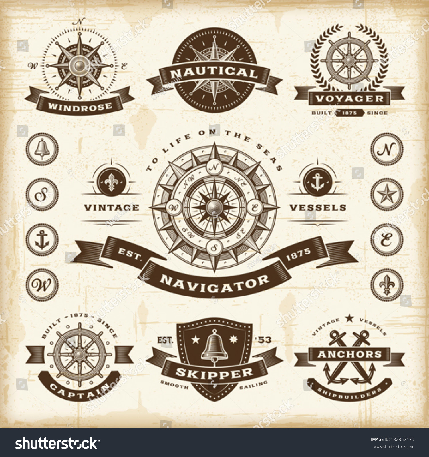 Vintage Nautical Labels Set Fully Editable Stock Vector 132852470 ...