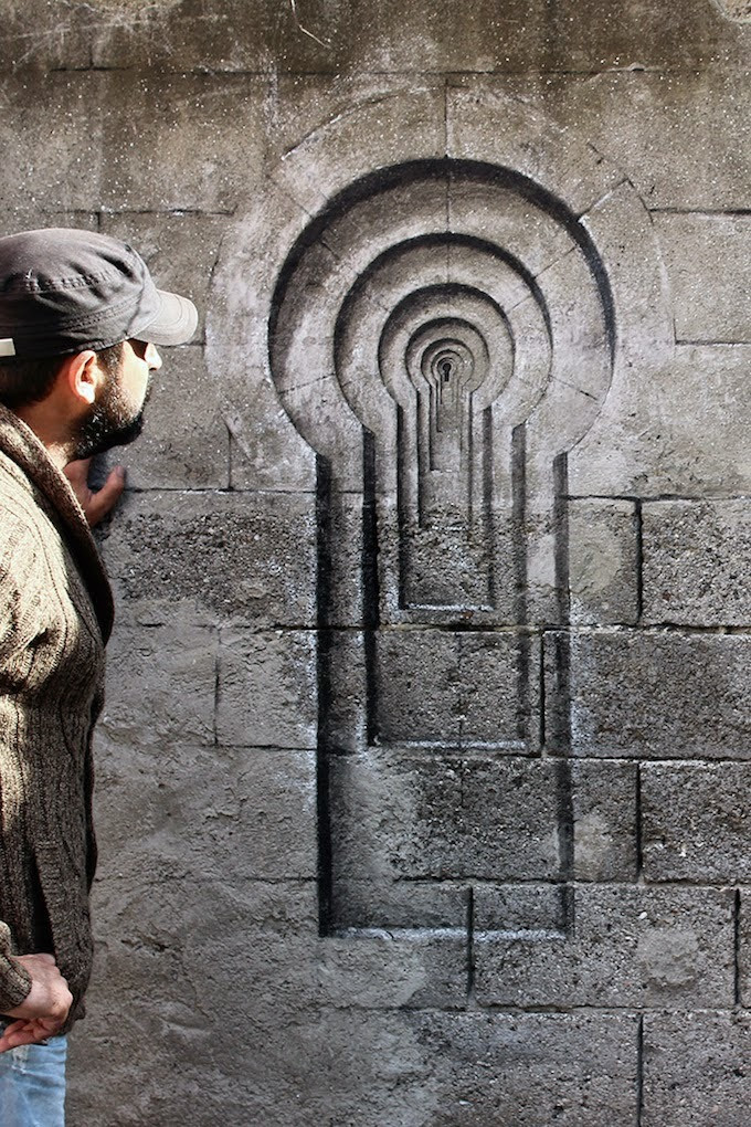 Street artist Pejac's latest work in Istanbul: Lock, Shutters, and Poster (October 2014) My Amp Goes To 11:Twitter|Instagram