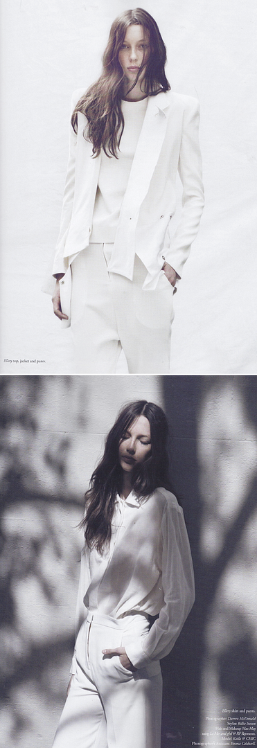 RUSSH MAGAZINE ALL WHITE SUITS PANTS TOPS SHIRTS MINIMAL 90S NINETIES SIMPLE CLASSIC