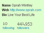 Twitter Followers for Oprah