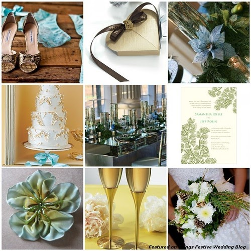 Brown And Gold Wedding Ideas: Aqua, Green, Gold & Brown Winter Wedding Color Palette