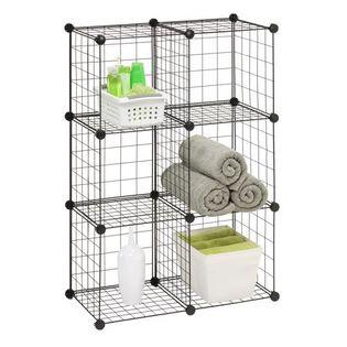 Honey-can-do 6 Pack Modular Mesh Storage Cube, Black - Furniture ...