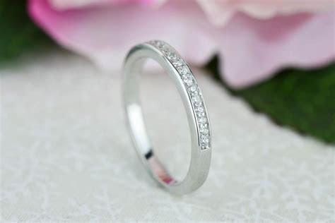 Small, Channel Set Half Eternity Ring, 2mm Wedding Band