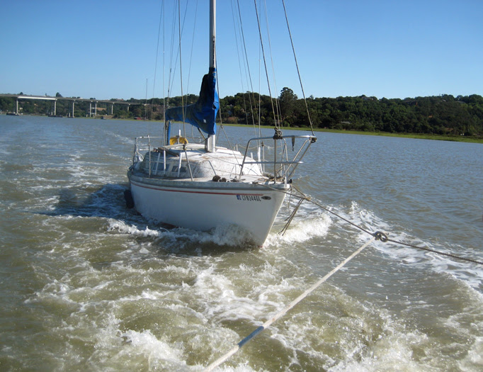 Towing Donated Sailboat