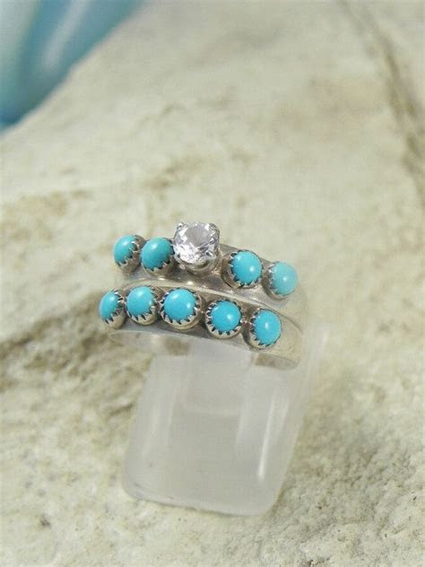 Native American Turquoise Wedding Ring Set by