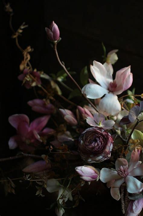 dark purple moody wedding flowers   Once Wed
