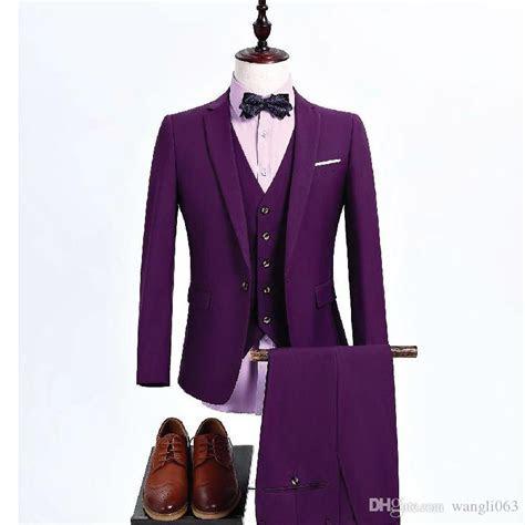 Three Piece Purple Men Suits For Wedding Groomsmen Wear