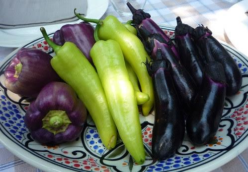 purple peppers chilis finger eggplants farmers market