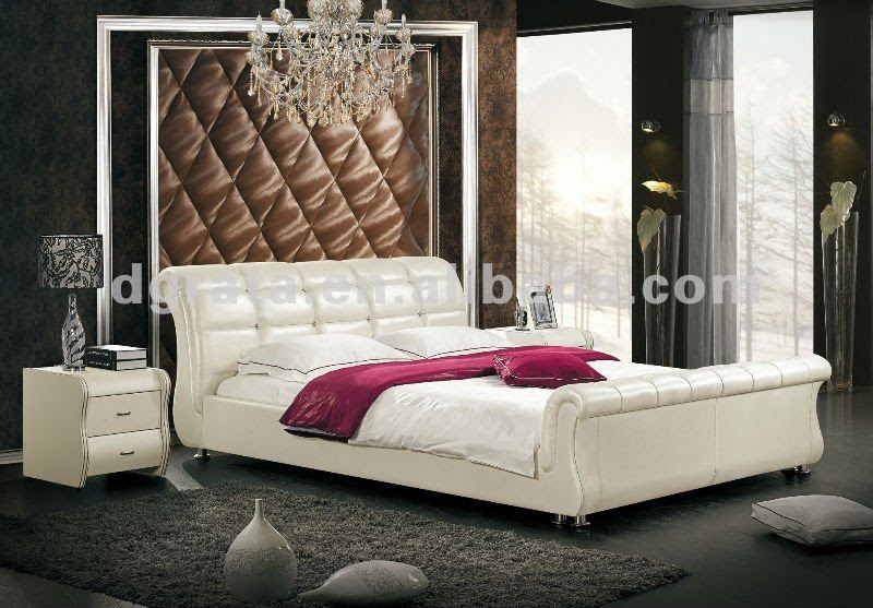 2012 new design modern bed with thin genuine leather and match up ...