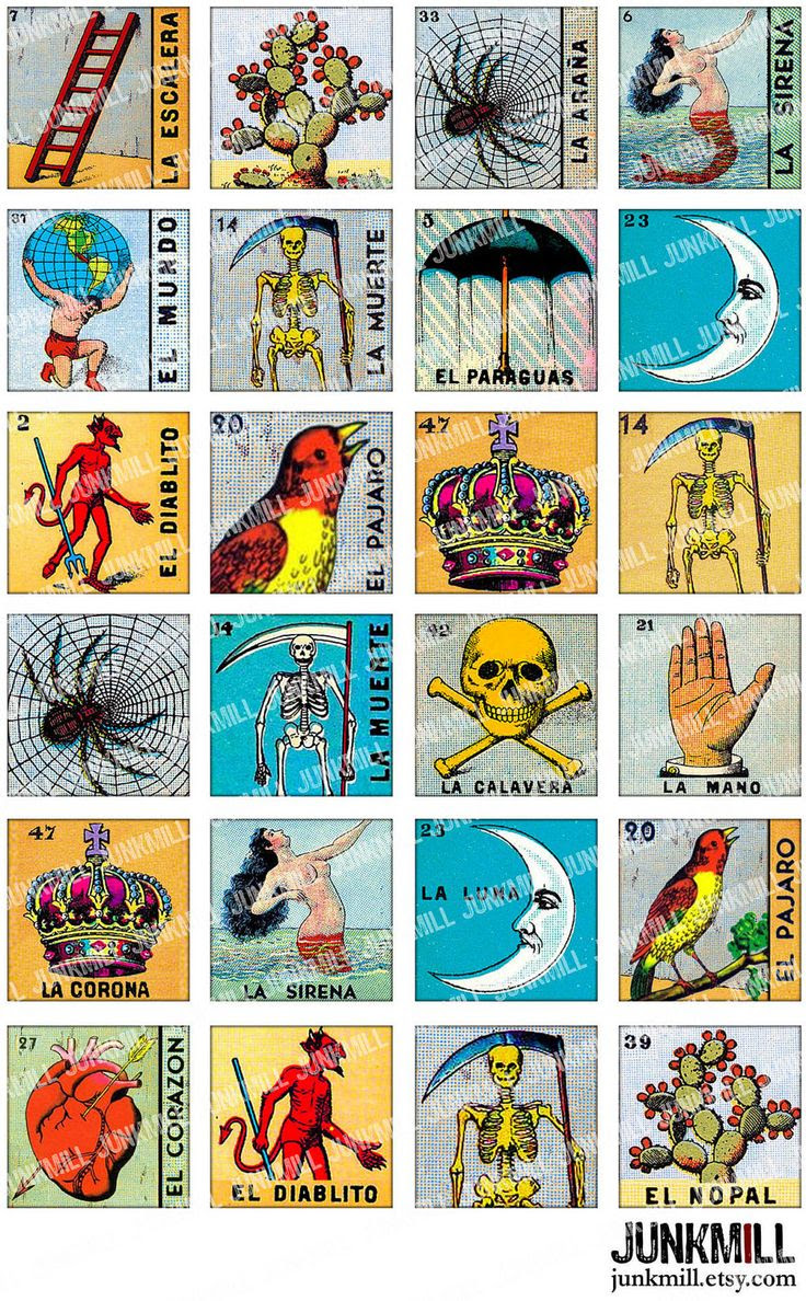 LOTERIA - Collage Sheet - Vintage Loteria Cards, Mexican Bingo ...