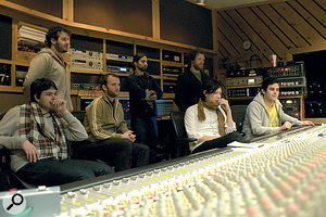 Mixing the album at Avatar. From left: singer and guitarist Ezra Koenig, Matt Herman (friend of the band), bassist Chris Baio, assistant engineer Fernando Loreido, Justin Gerrish, XL Recordings A&R man Kris Chen and Rostam Batmanglij.