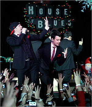 During their New Kids On The Block reunion tour, Wahlberg, left, and Jordan Knight performed at the House of Blues in Boston on Dec. 20, 2009.