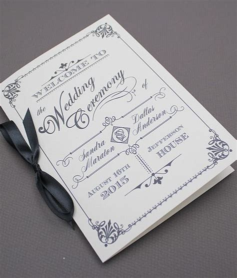 DIY Ornate Vintage #wedding program booklet template. Add
