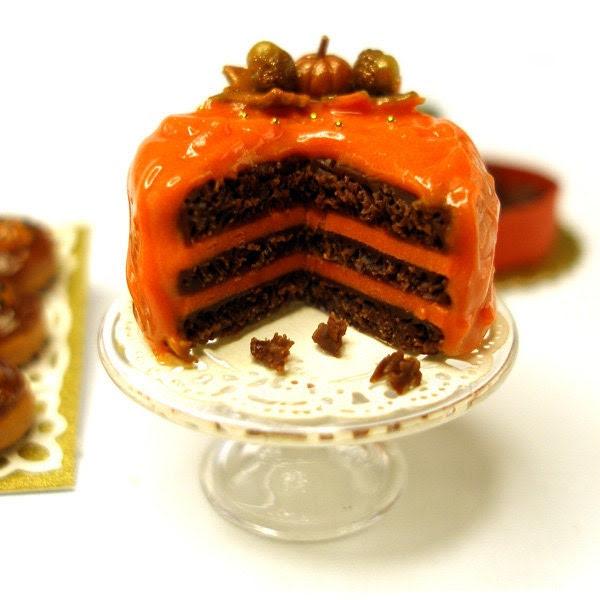 Orange and Chocolate  Autumn Cake - Dollhouse Miniature Food Handmade