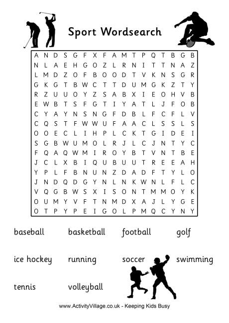US Sports Word Search