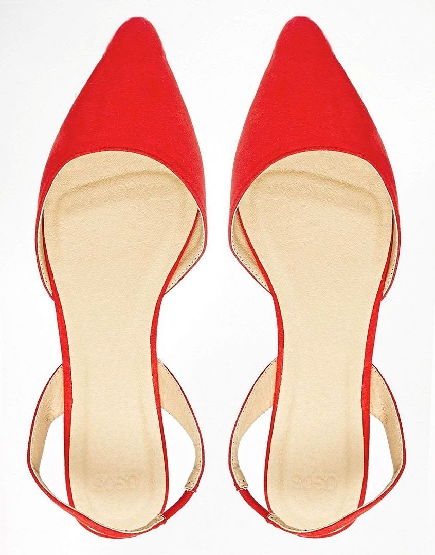 Le Fashion Blog Under 25 Budget Friendly Classic Bright Red Flats Asos Lyon Slingback Ballet Flat