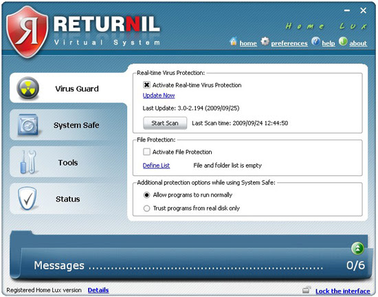 Returnil Virtual System 2010 Home Lux