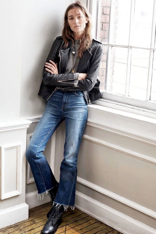 Le Fashion Blog Leather Jacket Mock Neck Sweater Cropped Denim Flares Raw Frayed Hem Flared Jeans Lace Up Boots Fall Style Via Madewell Lookbook