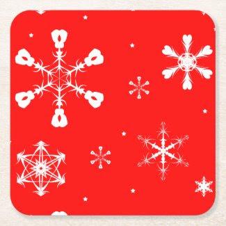 Coasters - Copos de Nieve - Navidad Posavasos Desechable Cuadrado