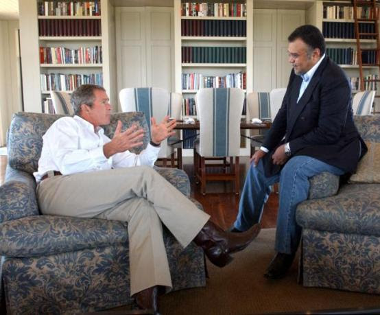 President George W. Bush and Saudi Prince Bandar bin Sultan
