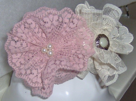 Blush and ivory vintage inspired flower headband