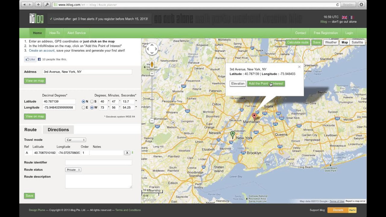 Get Google Maps Driving Directions With Itilog Multiple