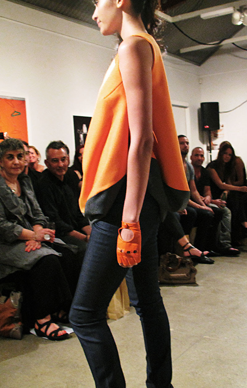Carl Kapp orange and grey tunic top with jeans AW10