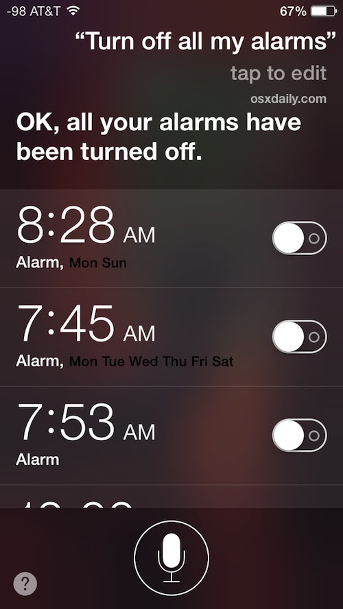 Remove Alarm Clock Clutter on the iPhone with Siri