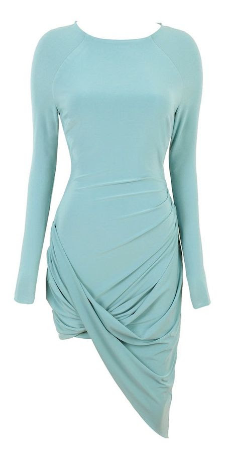 Ashanti's Pacquiao vs. Bradley Fight Celebboutique Amara Turquoise Blue Draped Long Sleeve Dress mgm grand