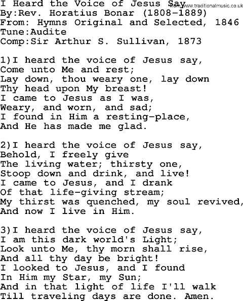 I Heard The Voice Of Jesus Say Lyrics