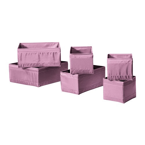 SKUBB Box, set of 6 IKEA Helps you organize socks, belts and jewelry in your wardrobe or chest of drawers.