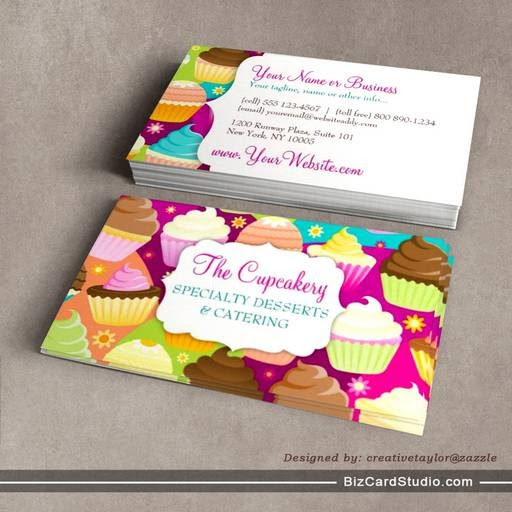 business card templates studio colorful cupcakes business card templates. Black Bedroom Furniture Sets. Home Design Ideas