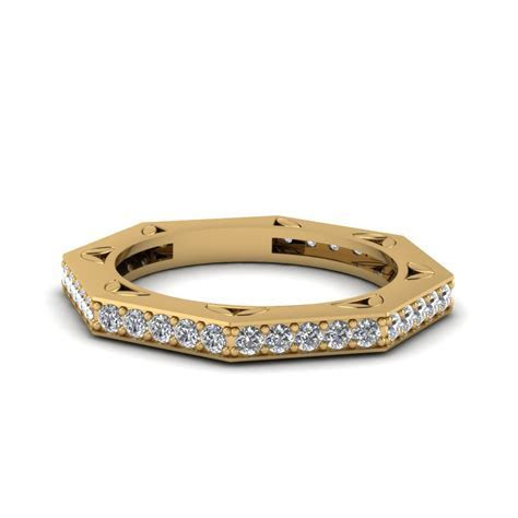 Octagon Delicate Diamond Wedding Band In 14K Yellow Gold