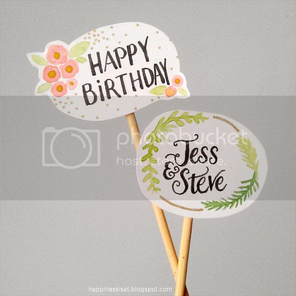 Happiness is... handmade watercolour cake toppers