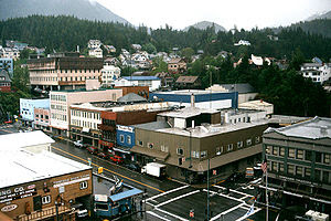 Downtown Ketchikan, with the intersection of D...