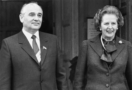 Mikhail Gorbachev, soviet Politburo member poses with British PM Margaret Thatcher at Chequers during his December 1984 visit to the UK. REUTERS/Stringer