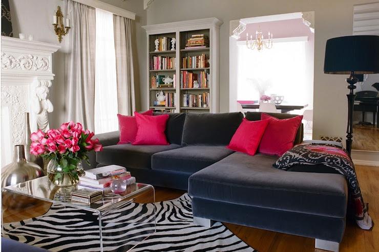 eliware: Kishani Perera - Great Girls Lounge Inspiration.   blue velvet sectional sofa with ...