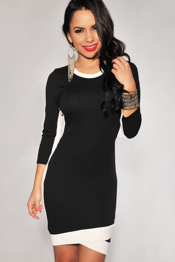 Black and white bodycon dress up girls