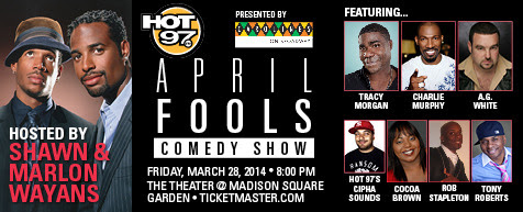 Hot97 April Fools Comedy Show presented by Carolines Comedy Club, Logo,